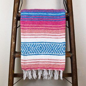 Boho Mexican Blanket Cotton Candy Pink & Blue